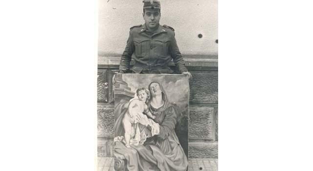Pintura a l'oli realitzada durant el servei militar